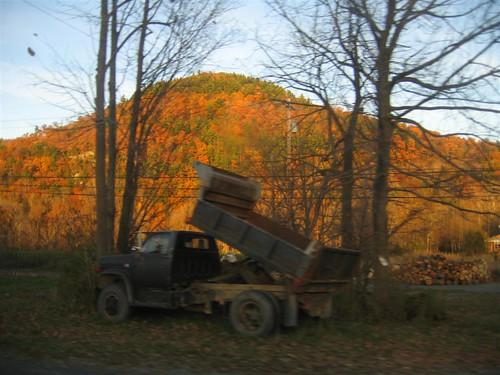 Tipped up dump truck