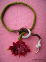 felted flower necklace (1) (creationsbyeve) Tags: red flower necklace beads felting handmade unique felt greece lariat