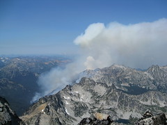 Jack creek fire from summit of Stuart (edocktor) Tags: climbing mtstuart westridgeofmtstuart