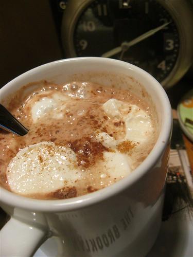 hot chocolate on the nightstand