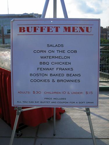 Left field deck bbq buffet menu
