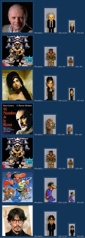 Avatares personalizados pixelados de famosos
