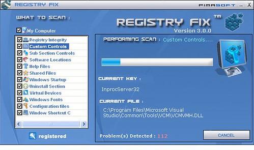 Registry fix screen shot