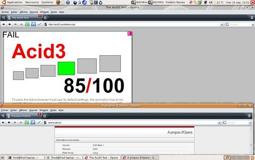 85 / 100 pour le test acid3 pour Opera 9.60 bêta