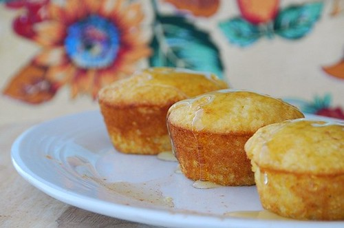 corn muffins drizzled with honey