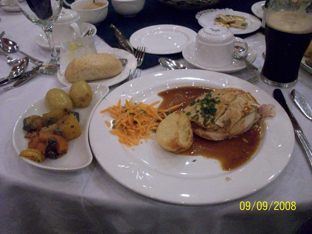 Ireland - Hotel New Park Killkenny - Its Thanksgiving dinner - turkey, dressing and ham!