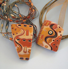 Tequila-Sunrise (julie_picarello) Tags: house yellow beads julie jewelry fabric clay bead fiber polymer gane mokume picarello