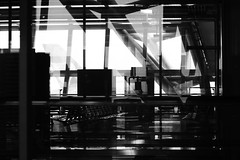 Reflection on Reflection (Ehsan Khakbaz) Tags: shadow bw white black reflection silhouette airplane thailand airport nikon bangkok f28 80200 ehsan d300  takeabow        khakbaz
