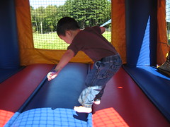 I can jump high in the bouncy house!