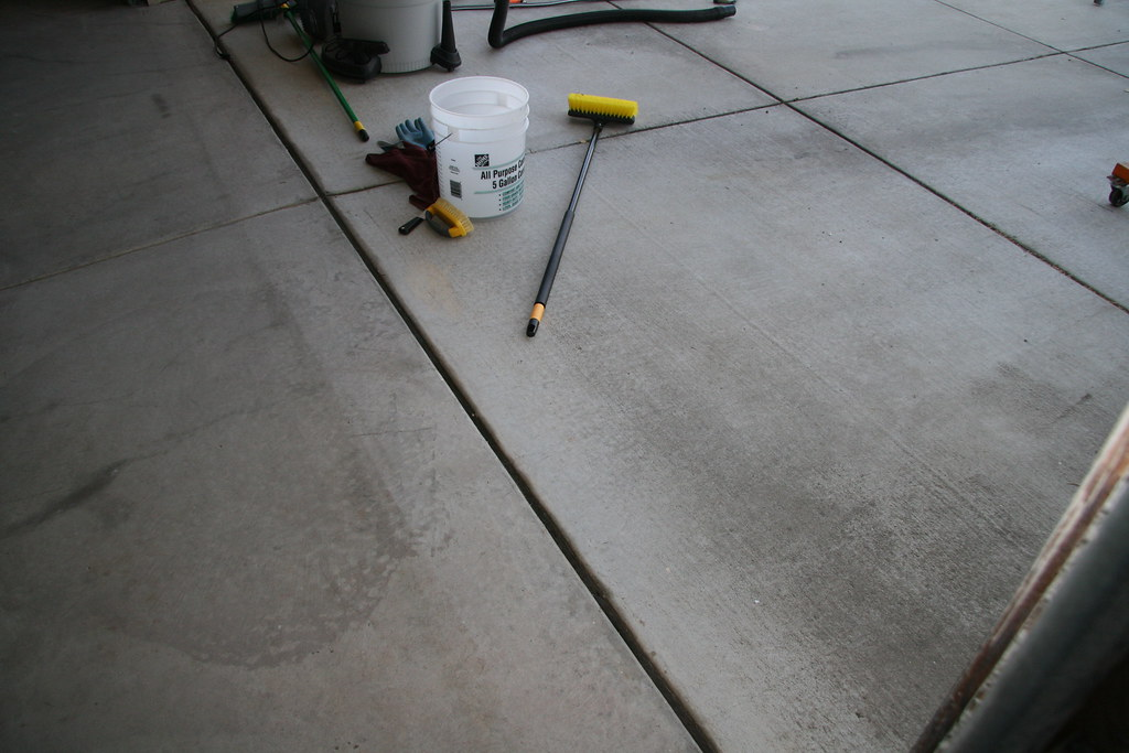 Garage Floor Degreasing After - Garage Door Line