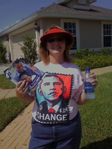 10042008 Michelline canvassing for Obama
