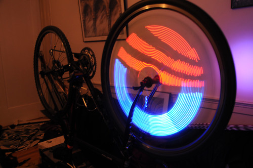 Aneel made his bike wheel light up with the Obama logo