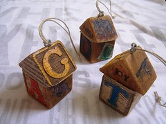 Funky Primitive House Ornaments (HA! Designs - Artbyheather) Tags: christmas house holiday building collage vintage fun funky ephemera ornament blocks grungy prim primitive decoupage hadesigns artbyheather