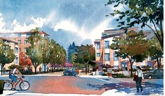 Station Park Green, certified LEED-ND Gold in San Mateo (courtesy Raimi Associates)