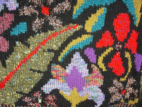 intarsia fabric closeup
