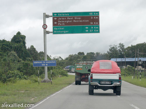 Road sign to Sarikei