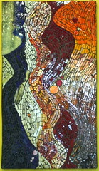 Orange Crush (MysticMosaics) Tags: blue red orange yellow abstractart interiordesign wallhanging glassmosaic stainedglassmosaic mysticmosaics draperyglass
