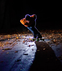 tuck (larsenroed.no) Tags: silhouette oslo night skateboarding flash downhill skate longboard morten dervish sthanshaugen interestingness93 i500 strobist