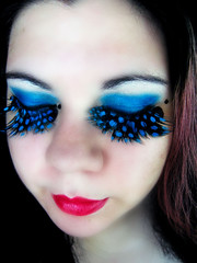 Polka dotted (Lady Pandacat) Tags: blue red wild portrait black self crazy mac colorful lashes bright teal feather makeup lips mexican polkadots hispanic latina carbon 2008 electriceel whitefrost falsies fantabulous catchycolorsblue pandacat 365daysreject canona570is fantasymakeup pandacatbaby tinaangel imsoinlovewiththeselashesrightnow ifeel365daysreject ifeellikeadragqueenandilikeit yeahiknowimpale ladypandacatvonnopants