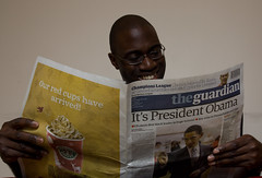(45/52) Eyes On The Prize (Air Adam) Tags: selfportrait history me paper reading newspaper election president headline blackpeople obama guardian 52 barackobama barack 52weeks airadam