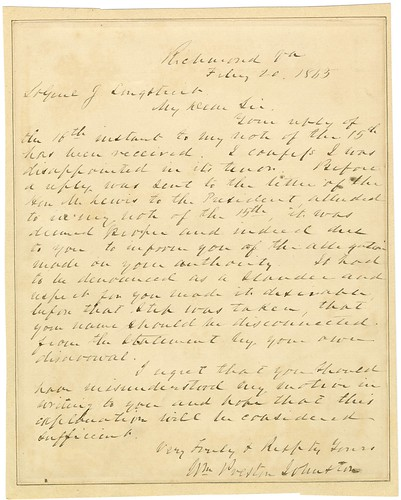 Letter from William Preston Johnston to James Longstreet