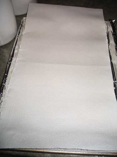 paper towel lined baking sheet