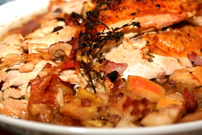 thyme roasted chicken with apples and bacon