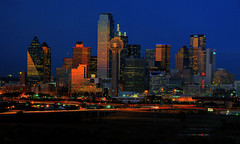 Dallas at Twilight (Jeff Clow) Tags: skyline landscape dallas twilight raw cityscape texas nightscape dusk explore dfw 1exp jeffrclow top20texas bestoftexas jrcsold