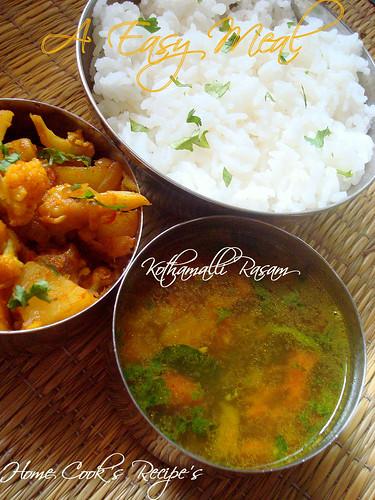Kothamalli Rasam,Aloo Gobi Fry