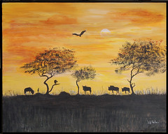 The evening gnus (Sarah Sollom) Tags: africa trees sunset sun abstract art nature birds animals night sunrise painting tanzania evening soleil nationalpark scenery acrylic wilderbeest desert kenya northafrica paintings safari ciel vultures romantic savannah colourful carrion serengeti animaux soir namibia nuit impression gnu acrylics daybreak gnus nightfall inde afrique masaimara sauvage cieux romanticsunset sharingart kruganationalpark kruga