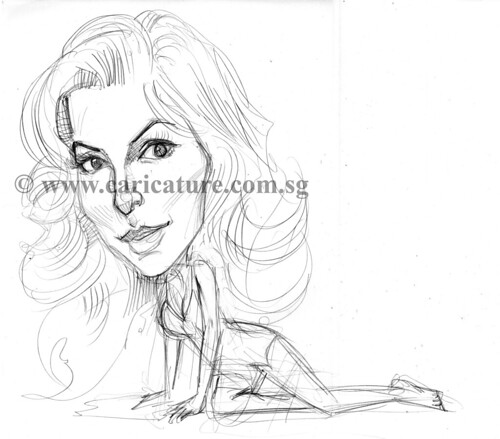 Celebrity caricatures - Eva Longoria pencil sketch watermark
