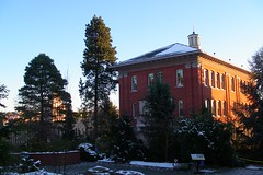 Seattle University's campus dusted in light snow