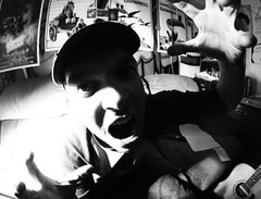 1 - Wahhh! (MVWorks) Tags: strange fun weird selfportraits personality boredom couch bower crazyman canon580ex 8mmfisheye strobist eosrebelt1i oddcanon