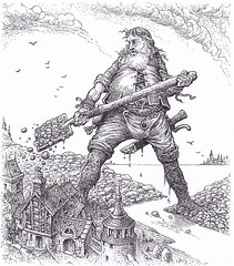Templar Giant - In illustrating the story of a good natured giant who diverts flood waters to save a human town, I wanted to contrast the size of the giant and the toy-like nature and fragility of the buildings.