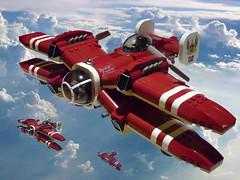 V-30 Warhawk (JonHall18) Tags: plane fighter lego aircraft fantasy scifi vehicle biplane gunship moc skyfi dieselpunk dieselpulp