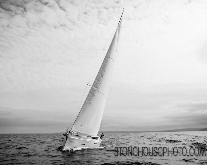 Lake Superior sailing in b&w