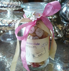 Button Jar (thejoyof) Tags: old pink glass vintage buttons cream pale jar chic shabby