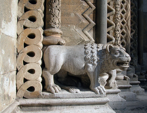 Sculpture of a lion, Facade of a Church in Budapest