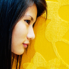 so yellow (AraiGodai) Tags: portrait people girl beautiful yellow wall asian interesting peach explore thai supershot araigordai raigordai araigodai