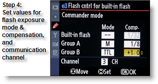 Setting the flash exposure mode and compensation on the remote flash units, and the communication channel