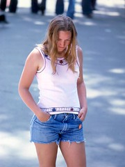 Dejected? (AntyDiluvian) Tags: woman girl boston 70s shorts 1970s seventies bostoncommon shortshorts artsandcrafts cutoffs girlsofthe70s