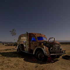 DIALOG (Lost America) Tags: lightpainting abandoned car night truck fullmoon international junkyard highway395 nocturnes pearsonville
