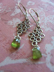 Diamond Circles and Vesuvianite Earrings (robindalmirasjewelry) Tags: green metal silver handmade circles jewelry earrings briolette vesuvianite diamondshape leverbacks vessonite baltimoreetsyteam