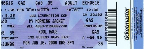 ticket stub My Morning Jacket