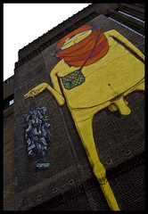 Fashion Week 2089 (OUR WORLD/EXPOSED) Tags: uk england brick london art yellow wall museum modern naked penis garbage grafitti tate britain turban