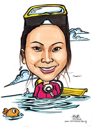 Caricature diver