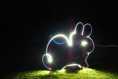 God of Bunnies. (Chairman Ting) Tags: longexposure friends light lightpainting vancouver neon creepy neonlights haunting peeps yvr ghostly playful stanelypark playingatnight lightscribble nikond40 carsonting goofingoffonafridaynight