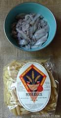 Penne rigate calamaretti spillo, bottarga e pangrattato