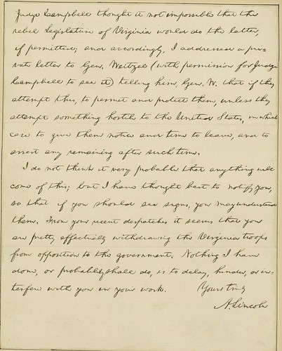Lincoln writes to Grant in the final days of the war: April 6, 1865 (p2)