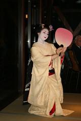 IMG_3018 (avsfan1321) Tags: pink white yellow japan fan dance kyoto dancing performance makeup maiko geiko geisha tatami kimono obi gion furisode hanamachi paperfan japanesefan apprenticegeisha darari danglingobi